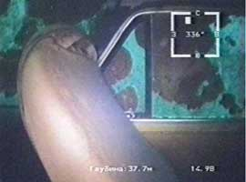 Осмотр затонувшего автомобиля на глубине 38 м изнутри